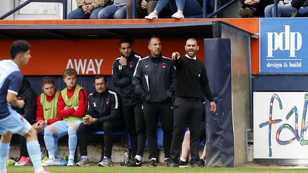 Leyton Orient boss Omer Riza issues instructions from the touchline at Luton Town (pic: Simon O'Conn
