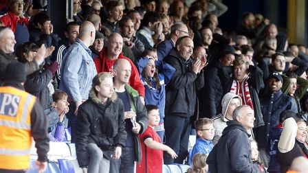 Some Leyton Orient fans celebrate while others look stunned after O's fight back at Luton Town (pic: