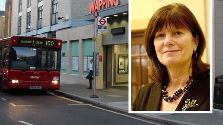 Cllr Denise Jones protesting at the 100 bus route being shortened
