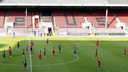 Leyton Orient and Colchester United prepare to play the final five minutes of Saturday's game