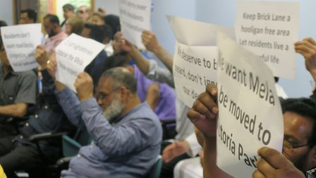 Town Hall protest over 2016 Mela being switched from Victoria Park back to Weavers Fields. Picture: