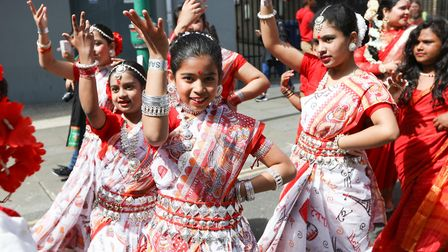 Dancers put on a dazzling show during the parade. Picture: KOIS MIAH