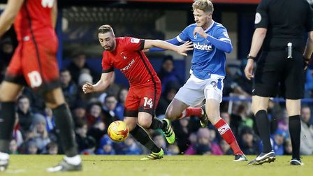 Sammy Moore looks to keep possession for Leyton Orient at Portsmouth midway through the 2016/17 seas