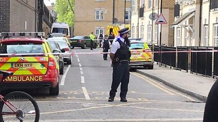 Police at the murder scene in Eagling Close. Picture: TWITTER@STUKSTA