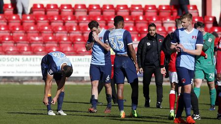 Leyton Orient defender Tom Parkes shows his disappointment after the full time whistle at Crewe Alex