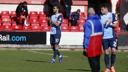 Leyton Orient forward Paul McCallum applauds the travelling support at Crewe Alexandra (pic: Simon O