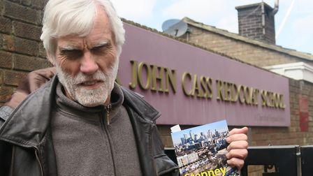 Chris Searle... back outside Sir John Cass School after 46 years with copy of latest edition of Step