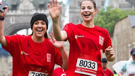 Fun run in Tower of London moat for British heart Foundation research. Picture: BRAD INGLIS