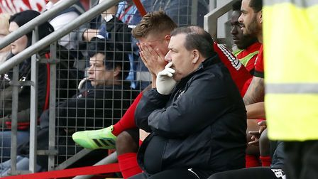 Leyton Orient's Jens Janse shows his disappointment after being substituted following a bad error wh