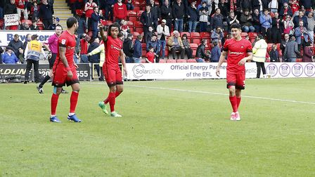 Leyton Orient's Sandro Semedo salutes the crowd after his fine goal against Colchester United