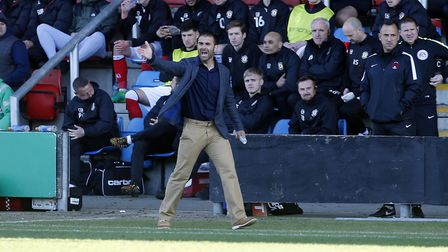 Leyton Orient boss Omer Riza issues instructions from the touchline (pic: Simon O'Connor).