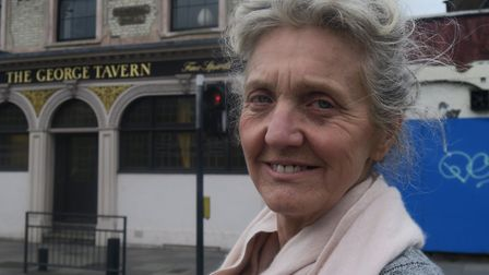 Pauline Forster outside her listed George Tavern in the Commercial Road. Picture: MIKE BROOKE