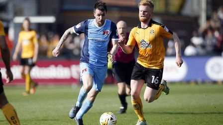 Michael Collins brings the ball forward for Leyton Orient against Cambridge United (pic: Simon O'Con