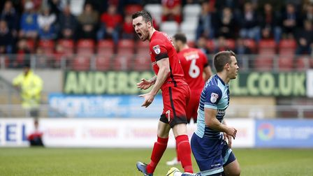 Leyton Orient midfielder Michael Collins expresses his frustration against Wycombe Wanderers (pic: S