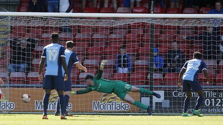 Leyton Orient goalkeeper Sam Sargeant can't prevent an effort finding the net (pic: Simon O'Connor).