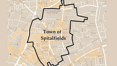 Suggested area of Spitalfields town council