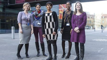 Professor Thangaratinam, centre, with members of the research team. Picture: BARTS
