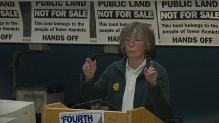 Sister Christine Frost at protest meeting in 2006 to stop council estates being given away. [Picture