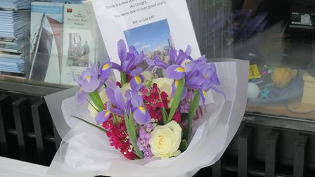 Floral tribute to Joe Cox after her murder in June, 2016. Picture: MIKE BROOKE