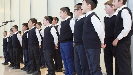Menorah primary school's choir perform at Shavuos 'Fesrtival of Lights' at Canary Wharf. Picture: CL