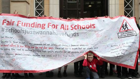 Children making sure their message about school funding is heard in Whitehall. Picture: Rehan Jamil