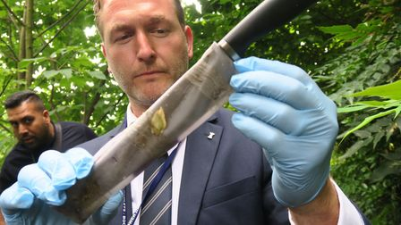 Det Insp Chris Soole with knife found hidden on Regent's Canal towpath. Picture: Mike Brooke