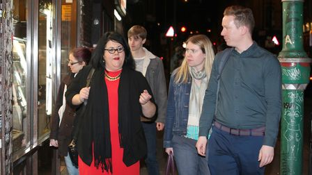 GLA's night economy tzar Amy Lame (left) on fact-finding tour of Brick Lane in April, 2017, with Tow