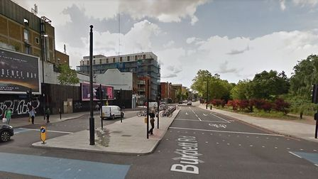 Burdett Road was closed southbound from Mile End Road this morning. PICTURE: Google StreetView