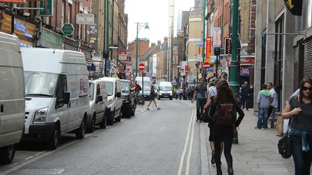 The stabbing took place in Brick Lane this afternoon. Picture: MIKE BROOKE