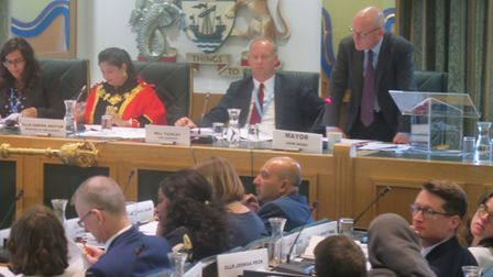 Mayor John Biggs addressing Tower Hamlets council debate on youth sport. Picture: Mike Brooke