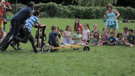 Mudchute team's no-steer kart heads straight for spectators! Picture: London Play