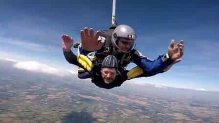 Alan freefalling just before his parachute opens. Picture: Lee/Air Affair skydiving