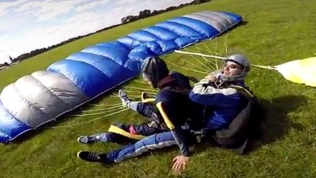Phew! Happy landing in a field near Maidstone after Alan's 12,000ft descent. Picture: Lee/Air Affair