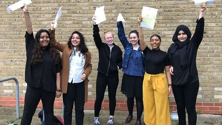 Mulberry School students celebrate their A-level success (Picture: Mulberry School for Girls)