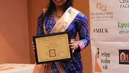 Cherry Jain at her sash ceremony for the Miss India UK 2017 competition