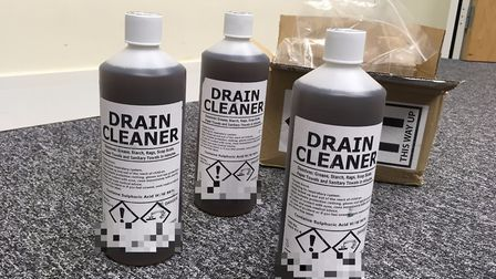 Drain unblocker bought on Amazon that contains 96 per cent proof sulphuric acid - which can cause ho