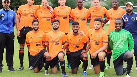 Sporting Bengal United face the camera on the opening day of the Essex Senior League season at Takel