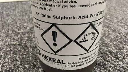 The drain unblocker used by the Advertiser contained 96 per cent proof sulphuric acid