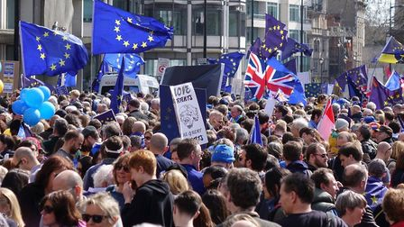 The packed rally in March attracted 120,000 protesting against Brexit. Picture: Bruce Tanner