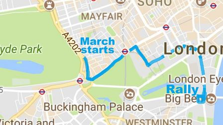 Route of 'People's March for Europe' to the Parliament Square rally [Google map]