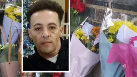 Tributes to Brenton Roper, shot in Eagling Close. Pictures: Met Police [inset]/Mike Brooke
