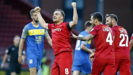 Charlie Lee celebrates after getting off the mark for the club and for scoring Leyton Orient's first