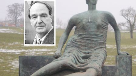 Henry Moore (inset) and his 'Draped Seated Woman',� or 'Old Flo'. Pictures: Henry Moore Foundation a