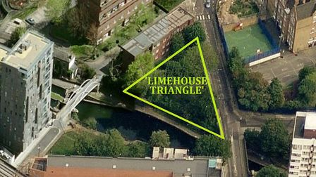 Limehouse Triangle by the Regent's Canal where council housing developers want to put up a tower blo