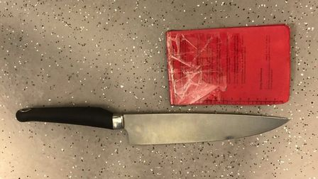 Officers from Tower Hamlets tweeted a picture of the knife. Pic credit: Twitter@MPSTowerHam