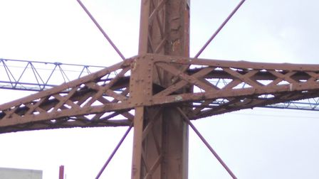 Unique Victorian latticed wrought iron girders linked to 'upright' standards at Poplar gasworks. Pic