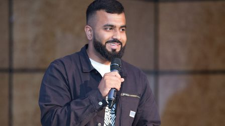 'Future astronaut' Hussain Manawer urging New City College students to aim high. Picture: New City C
