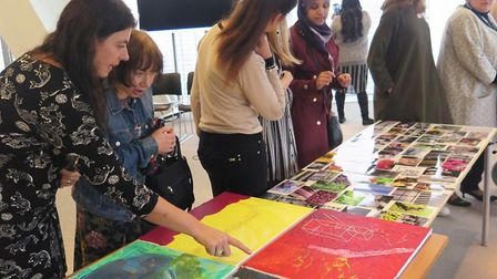 On display at Bishopsgate, artwork from Tower Hamlets Carers' centre project in Stepney. Picture: Cr