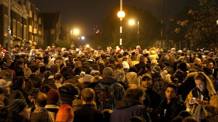 Crowds throng Victoria Park for Tower Hamlets council's annual Guy Fawkes bonfire night display. Pic