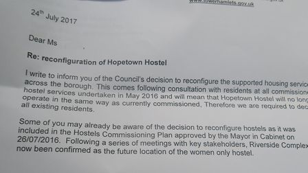 """""""This may cause some anxierty"""" admits Tower Hamlets council letter to Hopetown women about hostel's"""